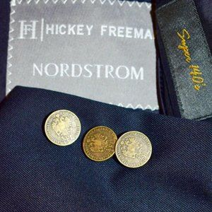 40R Hickey Freeman Metal Button Navy Blue blazer